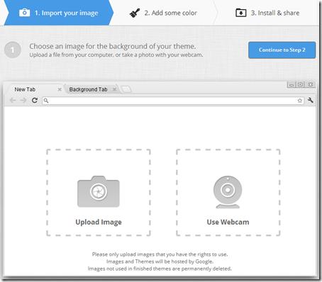 My Chrome Theme caricare un'immagine per il tema Chrome personalizzato