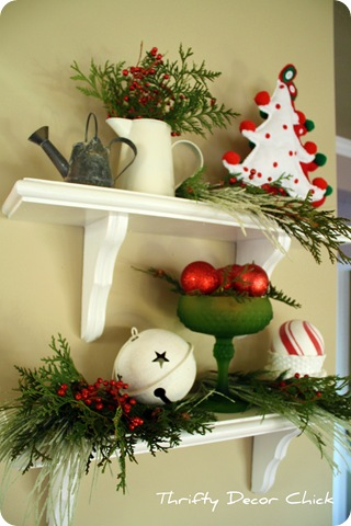 red green white christmas vignette