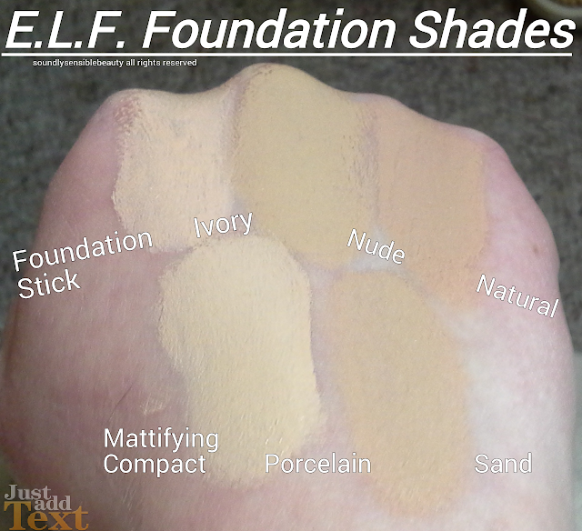 e.l.f. Mattifying Compact Foundation Cream Review & Swatches of Shades Porcelain & Sand e.l.f. Moisturizing Foundation Stick Swatches of Shades Ivory, Nude, & Natural