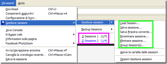 Session Manager Strumenti Firefox