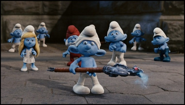 Smurfette, Papa, Clumsy and Grouchy Smurf in Columbia Pictures' THE SMURFS.