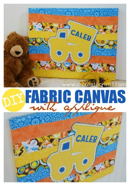 DIY Canvas with Fabric Applique at u-createcrafts.com