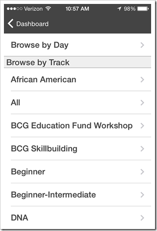 NGS Conference App - Browse sessions