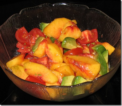 peach, tomato and avocado salad