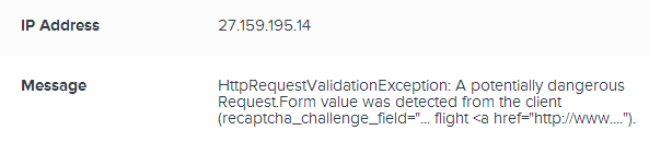Same HttpRequestValidationException message