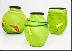 Three green vases (3)