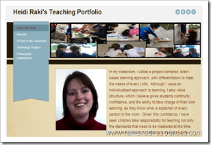 online teacher portfolio using Weebly