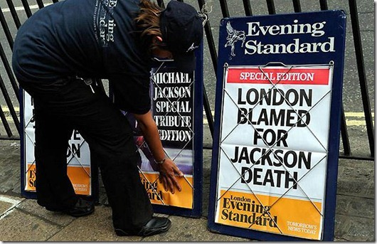 Michael Jackson dies...Evening Standard headlines in London following the death of the King of Pop Michael Jackson. PRESS ASSOCIATION Photo. Picture date: Friday June 26, 2009. Photo credit should read: Tim Ireland/PA Wire
