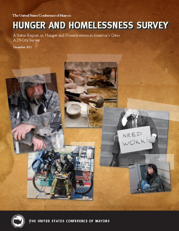 The cover of the 2011 Conference of Mayors report, 'Hunger and Homelessness Survey'. usmayors.org
