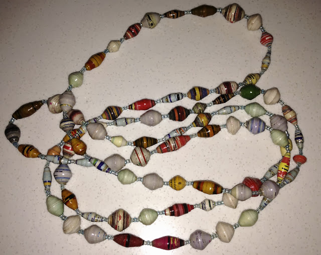 Extra Long Light Paper Bead Necklace