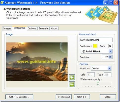 Alamoon Watermark applicare scritta alla foto