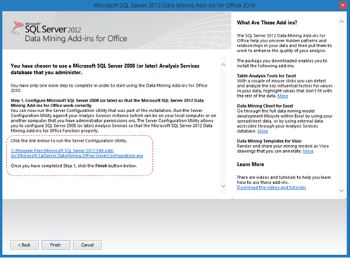 SQL Data Mining Add-in for Office 2010 2