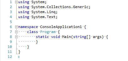 Editor de código do Visual Studio 2010 com a opção de exibir caracteres ocultos ativada