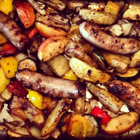 #183 - sticky sausage and apple bake