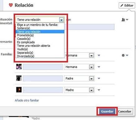 Cómo cambiar mi relación sentimental en Facebook sin hacerlo público