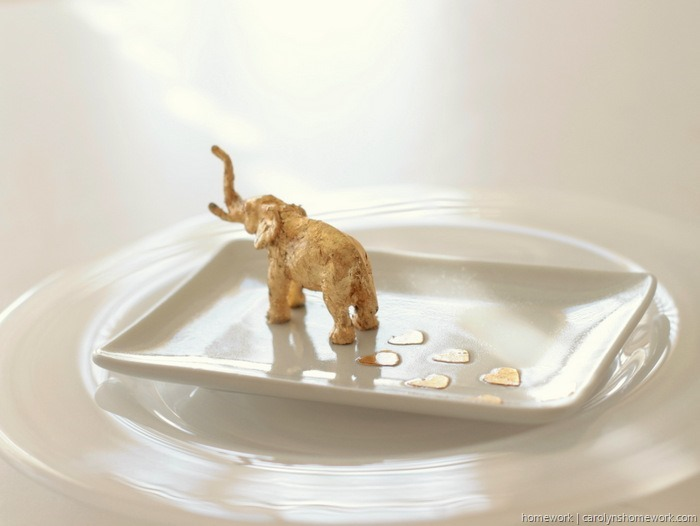 Gold Leaf Elephant Trinket Dish by homework (5)