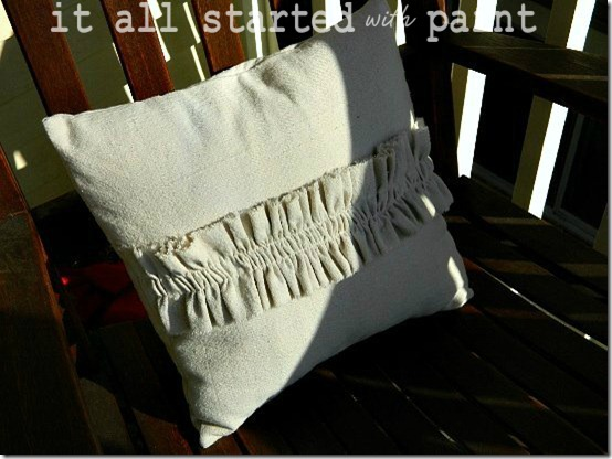 Ruffle Pillow on Porch 2