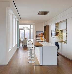 cocina de diseño moderno en penthouse