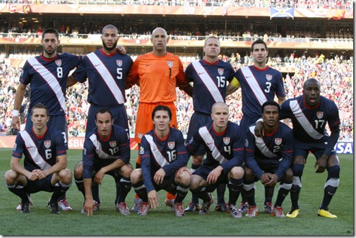 18 JUN 2010: USA starting eleven.  Front row (l to r): Steve Cherundolo (USA), Landon Donovan (USA), Jose Torres (USA), Michael Bradley (USA), Robbie Findley (USA), Jozy Altidore (USA).  Back row (l to r): Clint Dempsey (USA), Oguchi Onyewu (USA), Tim Howard (USA), Jay DeMerit (USA), Carlos Bocanegra (USA). The Slovenia National Team tied the United States National Team 2-2 at Ellis Park Stadium in Johannesburg, South Africa in a 2010 FIFA World Cup Group C match.