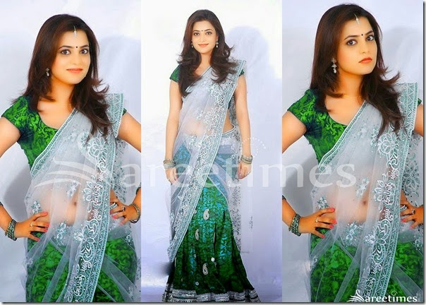 Nisha_Agarwal_Green_White_Half_Saree