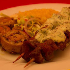 Cajun Lamb Skewers & Sour Cream Dressing