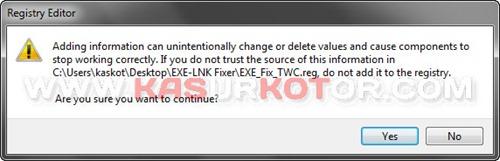 Tidak Bisa Buka File *.EXE dan *.LNK
