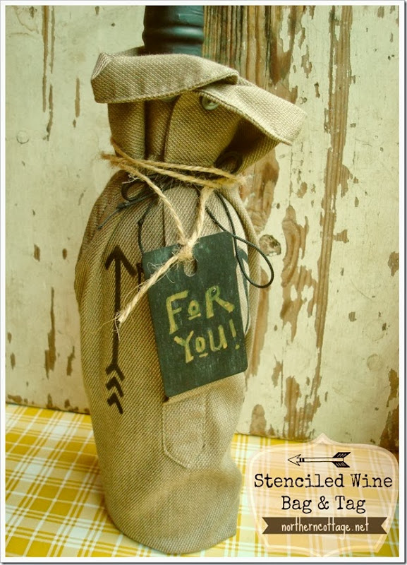 {Northern Cottage} stenciled wine bag and tag