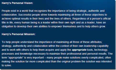 Harry's personal vision and mission.