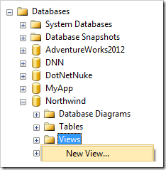 Adding a new view to the Northwind database.