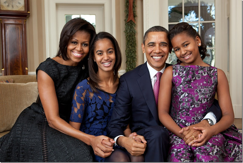 President Barack Obama, First Lady Michelle Obama, and their daughters, Sasha and Malia, sit for a family portrait in the Oval Office, Dec. 11, 2011. (Official White House Photo by Pete Souza)<br /><br />This official White House photograph is being made available only for publication by news organizations and/or for personal use printing by the subject(s) of the photograph. The photograph may not be manipulated in any way and may not be used in commercial or political materials, advertisements, emails, products, promotions that in any way suggests approval or endorsement of the President, the First Family, or the White House.