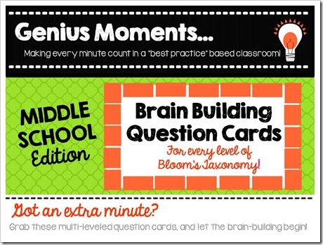 Brain Building Question Cards.Middle School