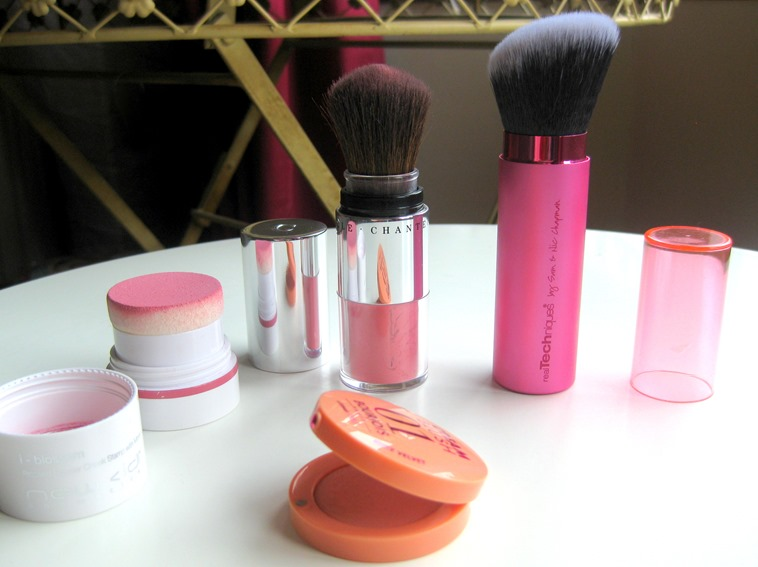 Real-Techniques-Retractable-Kabuki-Brush, New-CID-iBlossom-Rose, Chantecaille-Akoya, Bourjois-Nude-Velvet-Cream-Blush