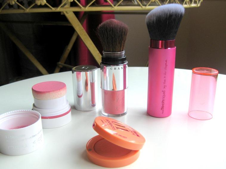 Real-Techniques-Retractable-Kabuki-Brush, New-CID-iBlossom-Rose, Chantecaille-Akoya, Bourjois-Nude-Velvet-Cream-Blush