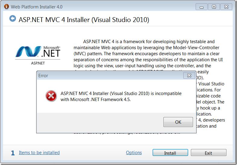 MVC 4 installer error