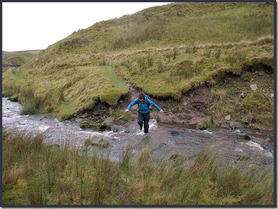 Sue crosses Long Preston Beck