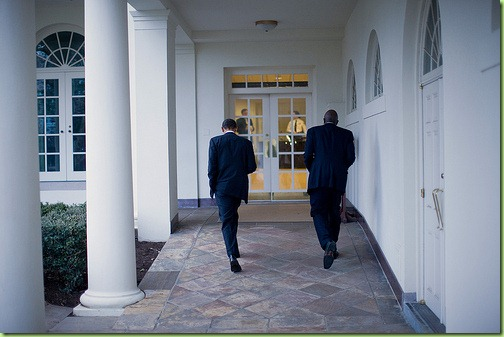 President Barack Obama and personal aide Reggie Love walk along the Colonnade of the White House, Feb. 26, 2010. (Official White House Photo by Lawrence Jackson)