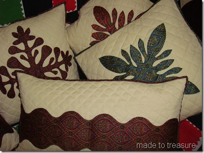 Hawaiian flower applique cushions