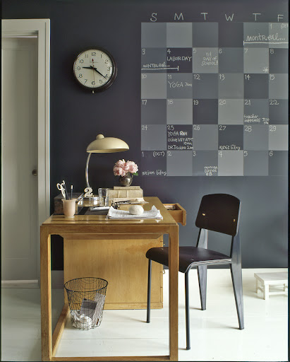 Replace a desk blotter calendar with a more graphic wall calendar made with chalkboard paint.