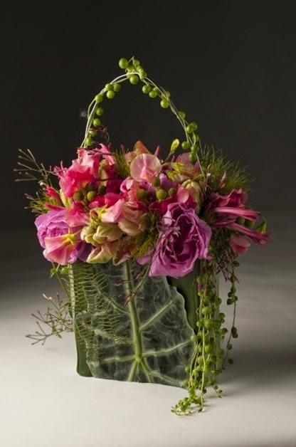 francoisejoniphoto pink-flower-purse-with-silver-leaf-and-mask-leaf-Portland-Art-Museum-Francoise-Weeks