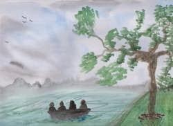 tree boat mountain