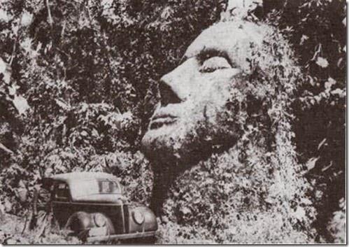 antigua cara de piedra en Guatemala