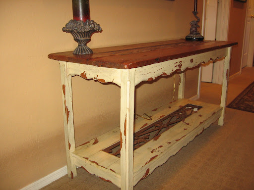 Wooden and iron sofa table for $15. Very shabby chic.