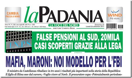 La prima pagina de 'La Padania' del 25 settembre 2011
