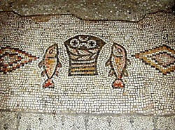 Tabgha mosaic of fish and loaves tb n011500 wr