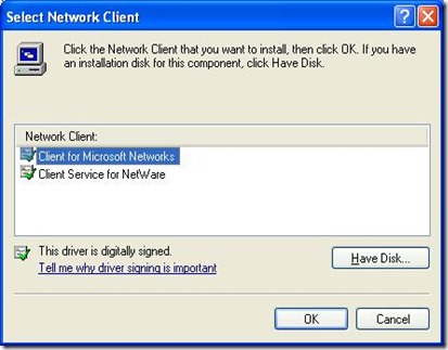 Add Client for Microsoft Networks 2