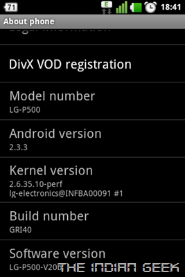 LG Optimus One P500 - Android 2.3 Gingerbread - Version