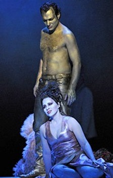 Lina Tetriani as Norma and Nikolai Schukoff as Pollione in Bellini's NORMA at the Théâtre du Châtelet, Paris [Photo by Marie-Noelle Robert]