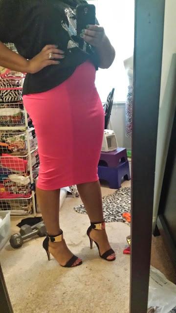 Rhianna's Studio Pink Midi Pencil Skirt