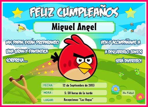 Tarjeta de Cumpleaños de Angry Birds para Imprimir — Invitaciones ...