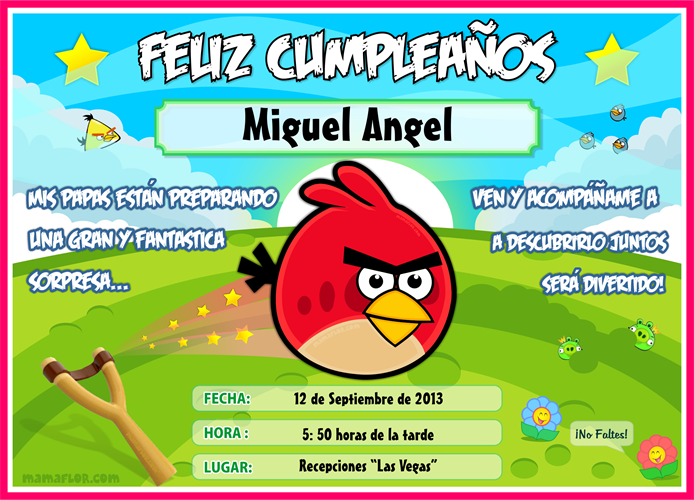 Tarjeta de Cumpleaños de Angry Birds, listo para Imprimir ...